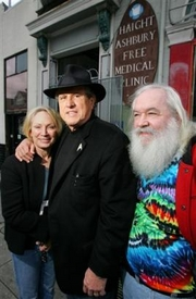 Millicent Buxton-Smith, Founder Dr.David Smith, and friend Bob Student in front of the Haight Ashbury Free Clinic in San Francisco.(AP Photo)